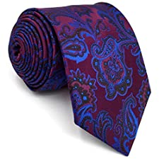 S13 Shlax&Wing Extra Long Size Ties Floral Purple Blue Navy Mens Neckties Silk