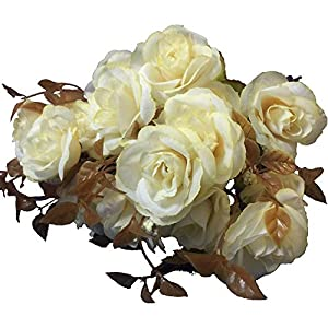 KAYAN 7 Branch 21 Heads Artificial Silk Fake Flowers Leaf Rose Wedding Floral Decor Bouquet for Home Garden Party Wedding Decoration (White) 105