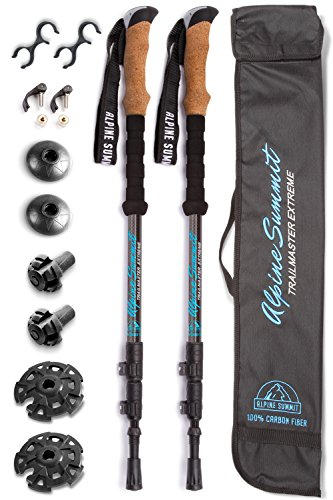 ASX 100% Carbon Fiber Trekking Poles w/ Cork Grips Collapsible Hiking / Walking Sticks