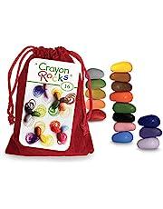 Crayon Rocks - Niet-giftige Soya waskrijtjes voor kinderen [penhandvat stimulerend] - duurzaam krijt in een rood fluwelen zakje - 16 natuurlijke wasbare kleuren - voor tekenen op papier en stof