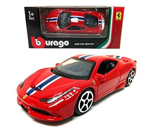 New 1:64 Bburago Play Assortment - Red Ferrari 458 Italia Speciale Race Diecast Model Car By Bburago -