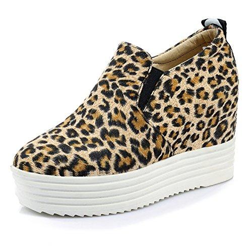 Slip Heels Round Mature Party on Toe Sneakers Working DecoStain Leopard Platform Wedges print High Women's xRqnInp