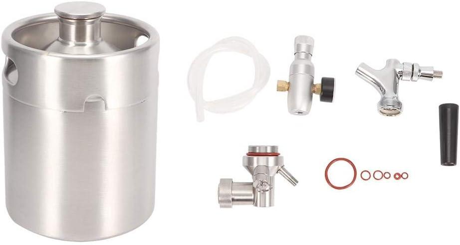 Beer Keg Homebrew Keg System, sistema de barril de cerveza de acero inoxidable 2L Homebrew Keg Kit con grifo de carbonatador Mini regulador de CO2