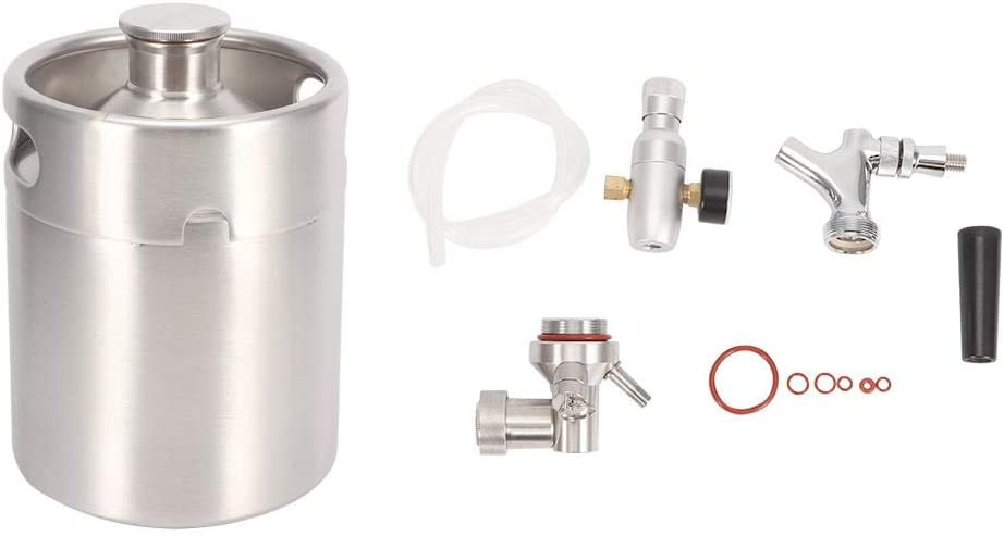 Jeffergarden Kit de Sistema de Barril de Cerveza de Acero Inoxidable Grifo de carbonatador Mini CO2 Clase 1 Manómetro (2L)