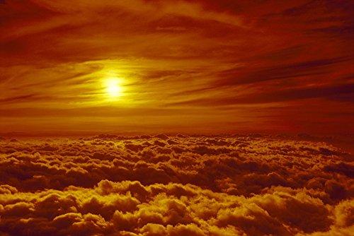 Hawaii Maui Haleakala National Park Sunset Orange Wispy Clouds Surround Sun Puffy Layer Thick