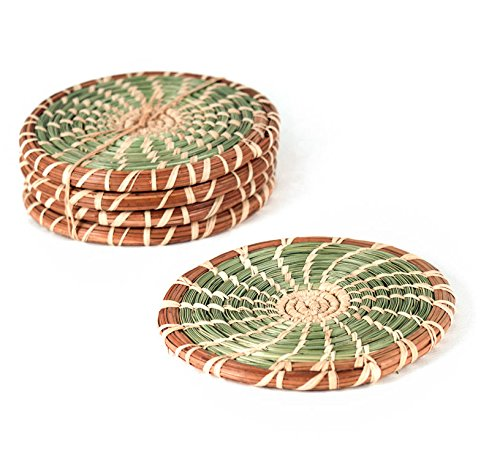 Handmade Wild Grass & Pine Needle Coasters (Set of 4), Stitched with Raffia. Organic Dinner Decor, Handcrafted and Fair Trade from Guatemala by Cork & Leaf