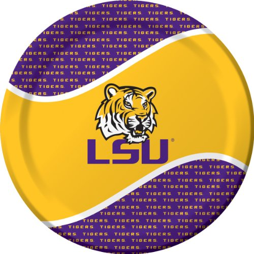 8-Count Round Paper Dinner Plates, LSU Tigers