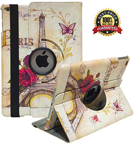 iPad Case Fit 2018/2017 iPad 9.7 6th/5th Generation - 360 Degree Rotating iPad Air Case Cover with Auto Wake/Sleep Compatible with Apple iPad 9.7 Inch 2018/2017 (Eiffel Tower) (Best Rotating Ipad Air Case)
