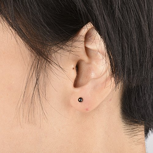Sterling Silver Ball Stud Earrings Set (Black, 4 Pairs-2mm 3mm 4mm 5mm) by Gintan (Image #2)