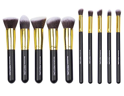 Nestling10 PCS Premium Professional Kabuki Makeup Brush Set