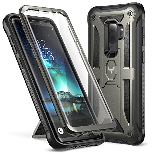 Galaxy S9+ Plus Case, YOUMAKER Full-body Rugged Kickstand Case with Built-in Screen Protector Heavy Duty Protection Shockproof Case Cover for Samsung Galaxy S9 Plus 6.2 inch (2018) - Gun Metal/Black
