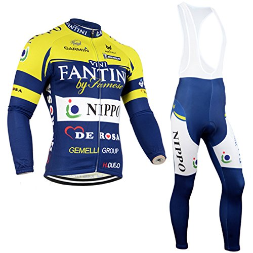 2014 Outdoor Sports Pro Team Men's Long Sleeve Fantini Cycling Jersey and Bib Pants Set-X-Large (Cycling Jersey Winter compare prices)