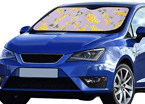 HUCG Foldable Sunshade for SUV Botanical Pattern Yellow Mimosa Flowers 55x30 Inch Anti-uv Coating Protect Seats Foldable Polyester and Aluminized Film Sun Car Shade