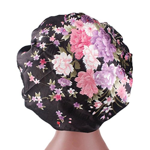 Women's Satin Printed Wide-Brimmed Hair Band Sleep Cap Chemotherapy Hat Hair Cap Laimeng_World (Multicolor) (Satin Skimmer)