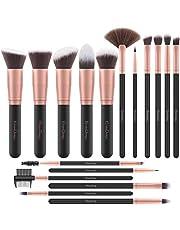 EmaxDesign professionele make-up-kwasten, 17 stuks, synthetisch, kwasten voor foundation en oogschaduw, ogen en gezicht, in roze goud