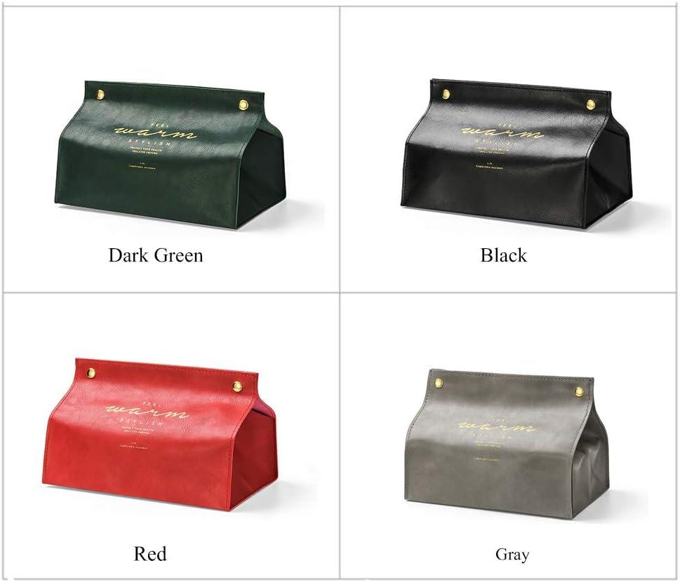 Rouge Bain Kleenex Napkin Holder pour Salle de Bain Vanit/é Table /à Manger Cuisine Comptoirs X-BLTU Support de Couverture de Support de Bo/îte /à Mouchoirs en Cuir Triangle