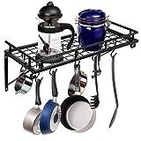 BBBuy Wall Mounted Pot Pan Rack Storage Hanging Iron Shelf Holder Organizer For Kitchen Cookware, Utensils W/ 10 Hooks