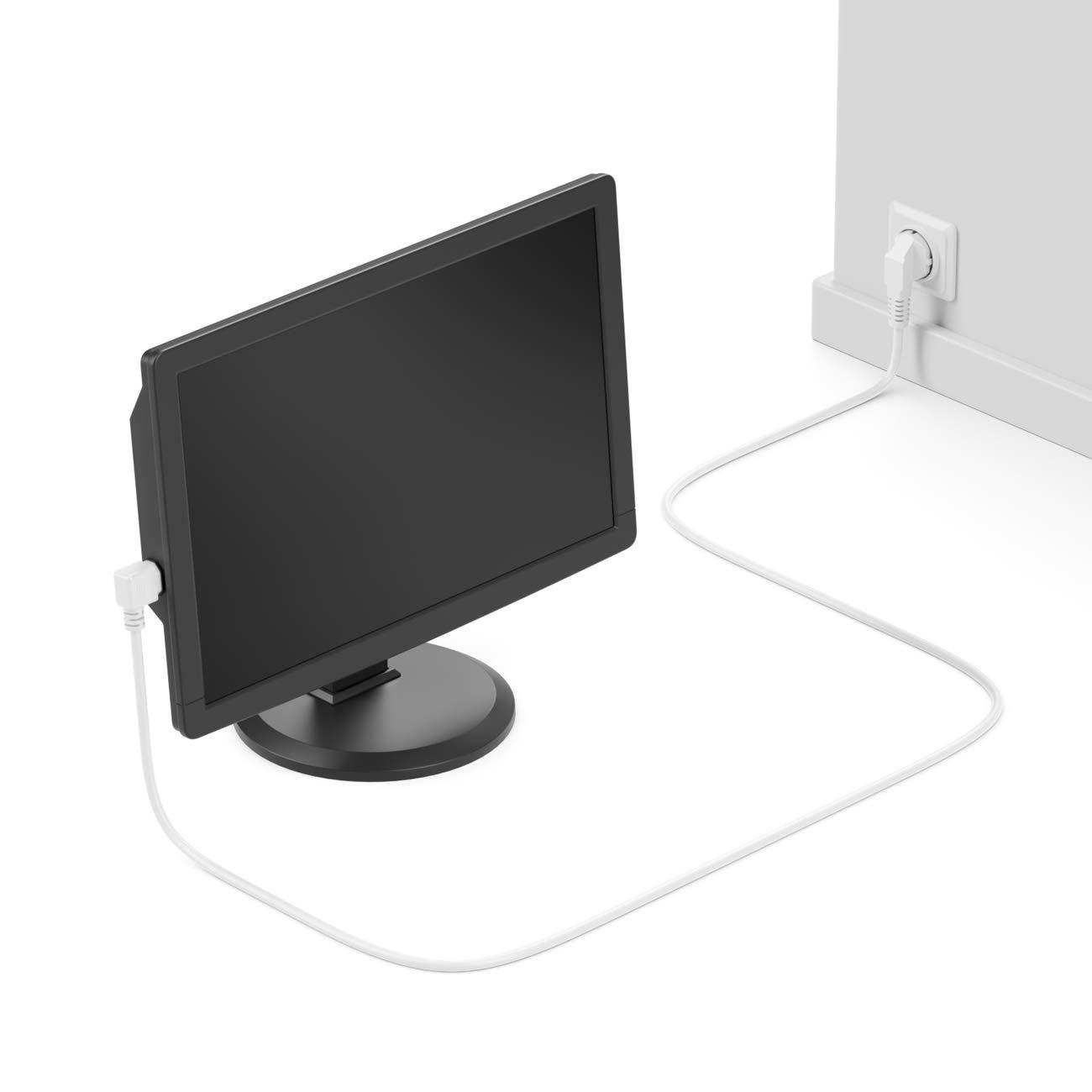 CEE 7//4 deleyCON 3m Cable de Alimentaci/ón a Prueba de Choques Enchufe Tipo F 90/° en /Ángulo en Toma de Entrada C13 Enchufe 90/° en /Ángulo Recto Personal Ordenador Monitor Impresora Beamer Blanco
