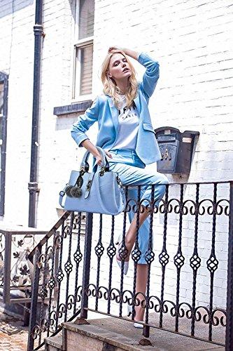 Clair À Cuir Bleu Porté Sac Poignée Bandoulière Mesdames Pu Sacs Messager Supérieure Minetom Femme Cartable Main UZnqwpZxa