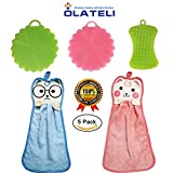 Silicone Dish Sponge Kitchen Scrubbers Brush Cleaning and Cartoon Cotton Towel Kitchen Hanging Highly Absorbent Rag Washing Tools Soft and Flexible, Reach Corners Cups, Remove Large Debris - Set 5
