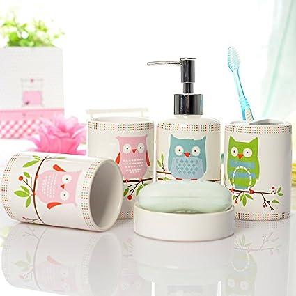 Bon Brandream 5 Piece Kids Bathroom Sets Owl Bathroom Accessories Set Ceramic