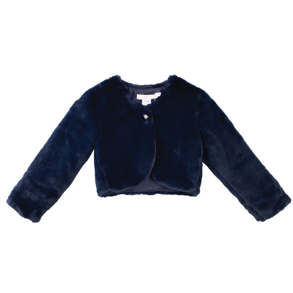 Designer Kidz Big Girls Navy Button Long Sleeved Thalula Fur Shrug 7-10