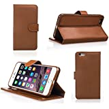 iPhone 6 Case - Bear Motion Wallet Case for iPhone 6 4.7 - Premium 100% Genuine Top Layer Leather Case for iPhone 6 with 4.7 inch Screen (Brown)
