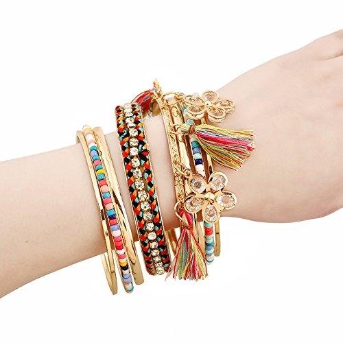 Lovelychica Bohemian Tassel Bracelet Beaded Bangle Bracelet 9 Pcs DIY Jewelry Set Women by Lovelychica (Image #2)