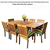 New 9pc Grade-A Teak Outdoor Dining Set-one Double Extension Table & 8 Patara Stacking Arm Chairs plus cushions