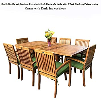 New 9pc Grade-A Teak Outdoor Dining Set-one Double Extension Table 8 Patara Stacking Arm Chairs plus cushions