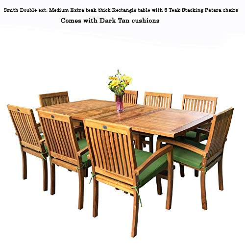 Table Dining Set Teak (New 9pc Grade-A Teak Outdoor Dining Set-one Double Extension Table & 8 Patara Stacking Arm Chairs plus cushions)