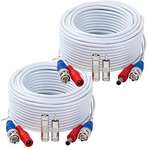 Tainston 2 Pack 50 Feet BNC Video Power Cable,BNC Extension Wire Pre-Made All-in-One Video Security Camera Wire with Connectors for CCTV Camera DVR Surveillance System