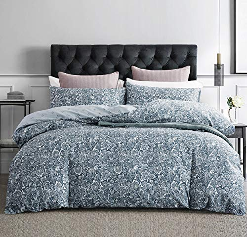 SLEEPBELLA Duvet Cover Queen, 600 Thread Count Cotton Blue Paisley Floral Pattern Comforter Reversible Cover ... (Duvet Blue Cover Queen)