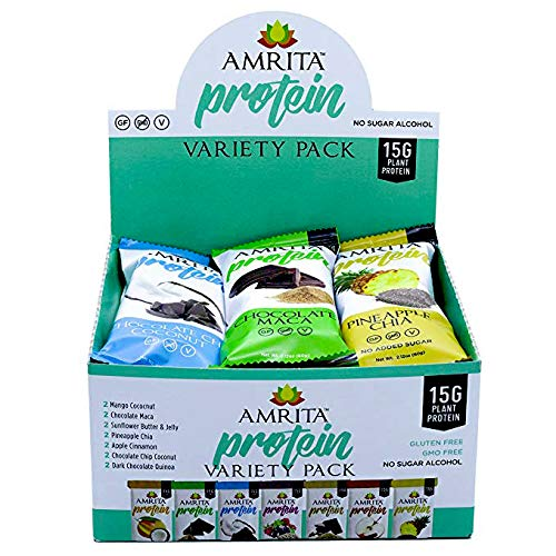 Paleo High Protein Variety Pack with 7 Flavors, Pack of 12 bars by Amrita Health ()