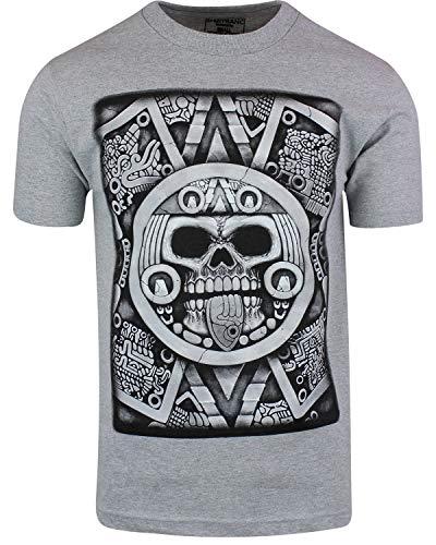 Aztec Calendar Skull Shirt Sun Stone of Axayactl Day of The Dead Tee (Gray, 2XL)