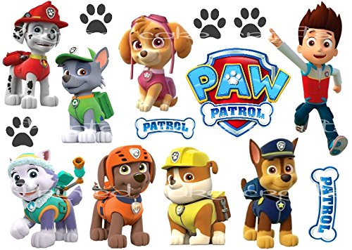 Kids Toys Action Figure: EDIBLE ICING PAW PATROL DOGS SIGNS FLAT PRINTED CAKE