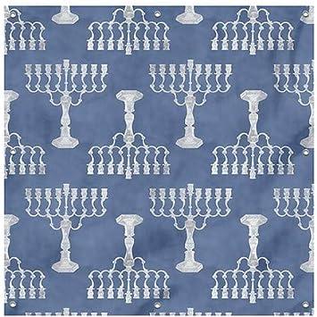 Holiday Decor Blue and White Menorah Pattern Heavy-Duty Outdoor Vinyl Banner CGSignLab 8x8