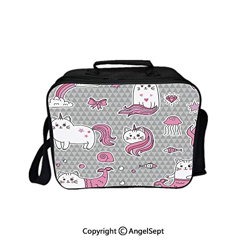 Tissue Bubble Fish - Travel Picnic Lunch Box Wide Open Lunch,Cute Cat Unicorn and Mermaid Fishes Bubbles Hearts Underwater Theme Decorative Grey Light Pink White 8.3inch,Lunch Bags For Unisex Adults