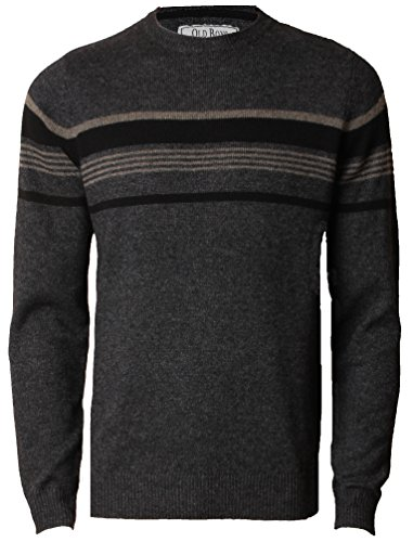 Mens Jumper Lambswool Blend Fashion Knitwear Sweater Barton Old Boys Network, Charcoal Marl, L