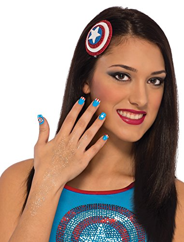 [Rubie's Costume Co Women's Marvel Universe American Dream Hair and Nails Kit, Multi, One Size] (Captain America Costume Girl)