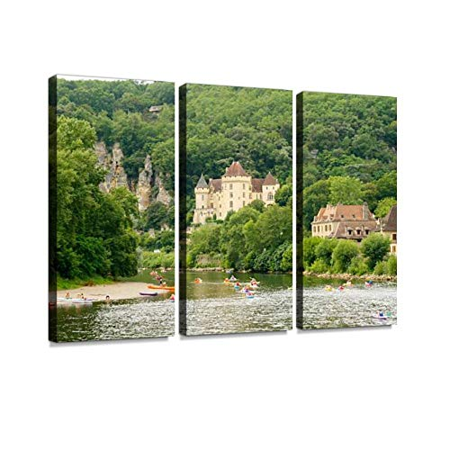 La Roque Gageac Print On Canvas Wall Artwork Modern Photography Home Decor Unique Pattern Stretched and Framed 3 Piece