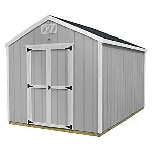 Ready Shed Easy Install Shed With All Materials, Primed Grey, 8 x 8, Wood Construction, Peak