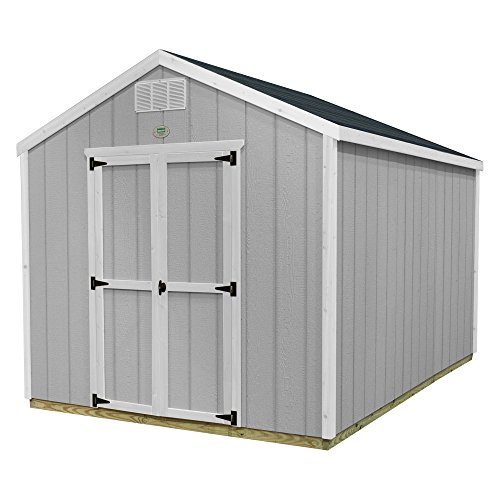 Backyard Discovery Backyard Discovery Ready Shed Easy Install Shed with All Materials, Primed Grey, 8 x 8, Wood Construction, Peak price tips cheap