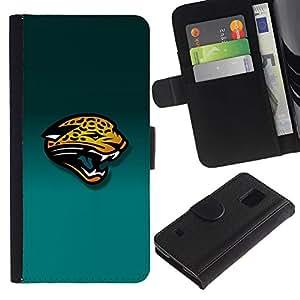 KLONGSHOP // Tirón de la caja Cartera de cuero con ranuras para tarjetas - Tiger Panther - Samsung Galaxy S5 V SM-G900 //