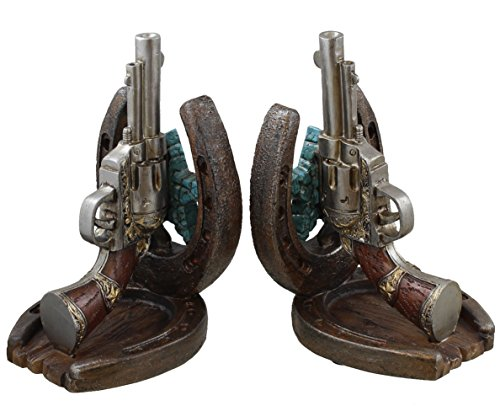Decorative Western Bookends - Horseshoe Revolver Pistol (Set of 2)
