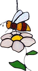 HAOSUM Stained Glass Bee On Flower Suncacther Garden Decoration Window Hanging Thanksgiving Gift for Mom or Friends