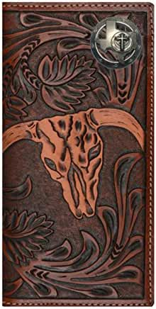 Custom 3D Belt Company New Texas Christian Long Rodeo Checkbook Brown and Tan Cow Skull Wallet