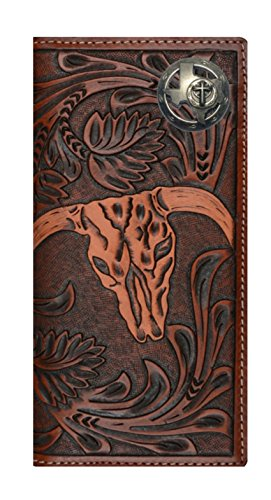 Custom 3D Belt Company New Texas Christian Long Rodeo Checkbook Brown and Tan Cow Skull Wallet Long
