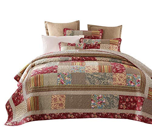 Tache Cotton Charming Fairytale Tea Party Quilted Floral Patchwork Quilt Set, King