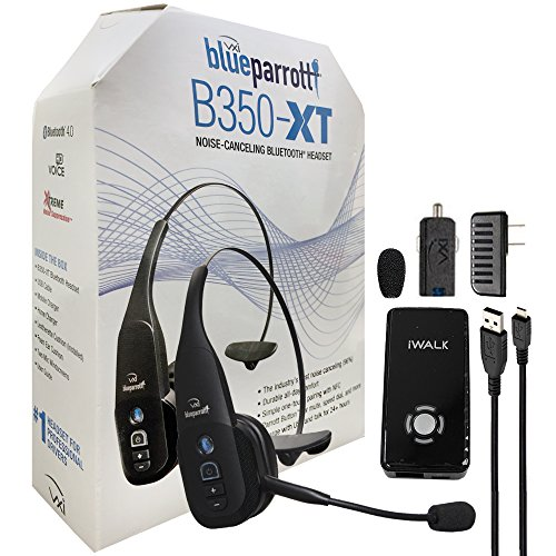 VXi B350-XT 203475 BlueParrott Noise Canceling Bluetooth ''HD'' Headset For iOS & Android - with Home/Car Charger & iWalk Battery Pack Charger (Retail Packing Kit) by iWalk VXi